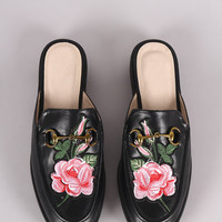 Qupid Horsebit And Floral Patch Slip On Loafer Mules