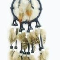 Mini Dreamcatcher with Fake Fur, Beads & Feathers (Random Color), 11-inch