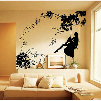 Vinyl Wall Art Decal Sticker Fairy on Swing butterfly kids baby girl room wall decal nursery vinyl decals