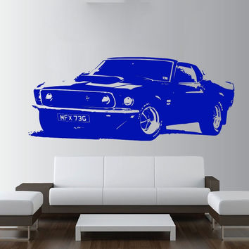 Removable Vintage XL Large Car Ford Mustang 1969 Wall Art Decal Sticker Home Decoration Art Mural Paper Car Sticker