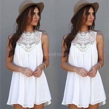 Women Lace Sleeveless Long Tops Blouse Shirt Ladies Beach BOHO Mini Dress 6-16 [9305691399]