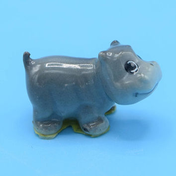 Miniature Hippo Figurine Vintage Safari Animal Baby Hippopotamus Dollhouse Figurine Fairy Garden Decor Terrarium Figurine Porcelain Hippo