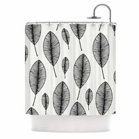 "KESS Original ""Leaves"" Black White Shower Curtain"