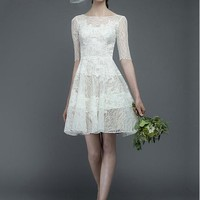[126.99] Elegant Lace Bateau Neckline Natural Waistline Short A-line Wedding Dress With Lace Appliques - Dressilyme.com