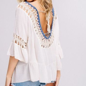 Crochet Ruffle Top in Natural