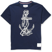 Thom Browne - Anchor-Print Cotton-Blend Piqué T-Shirt | MR PORTER