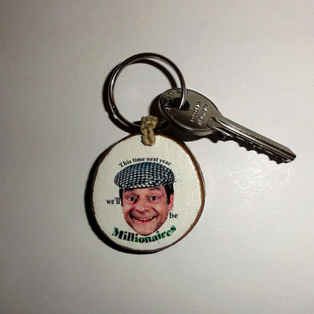 Keychain Del Boy Keyring. Natural Key Ring Wood Slice. Trotter, Peckham London, Key Chain Funny Only Fools and Horses. Wooden Keychain Key.