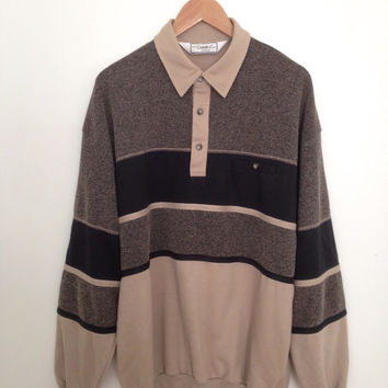 90s Vtg Men's Black and Tan Striped Long Sleeve Polo with Cuffs and Waistband - XL