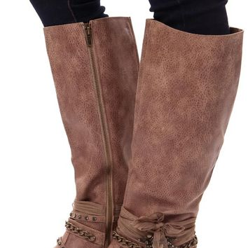 Taupe Chain and Gem Tall Boot