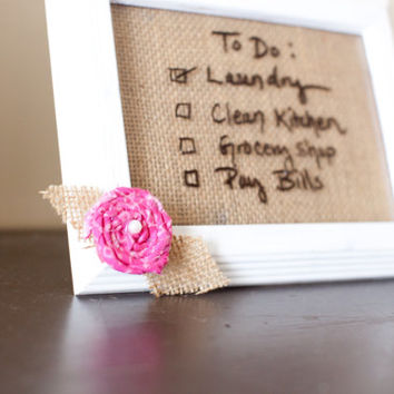 framed chalkboard white frame pink flower burlap dry erase board framed whiteboard framed