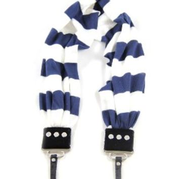 Navy & White Stripe Scarf Camera Strap