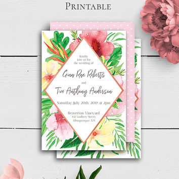 Printable Tropical Invitation, Wedding Invitation Template, Wedding Invites Download,Invitation Printable,Personalized Invite,Exotic Wedding