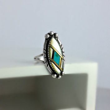 Native American Turquoise & MOP Ring Size 6 1/2 - Mother of Pearl Sterling Ring - Southwestern Ring Size 6.5