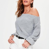 Missguided - Cold Shoulder Knitted Ribbed Sweater Grey