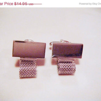 Holiday Sale Vintage Shield's Fifth Avenue Silver Mesh Cuff Links