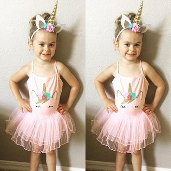 Toddler Baby Girls Unicorn Princess Party Wedding Prom Tutu Dresses Clothes 2-5T