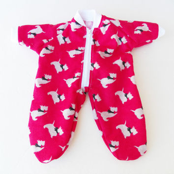 """Bitty Baby Clothes  handmade for 15"""" or Twin or Girl Doll or Boy Pajamas Pjs Sleeper Flannel Red Scotty Dog Puppy Christmas"""
