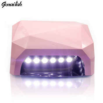 SUN6-AUTO Sensor UV LED Nail Lamp Nail Dryer Diamond Shaped 36W White Light 365nm+405nm Curing for UV Gel Nails Polish Art Tools