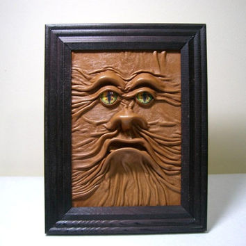 3D Leather wall art decor.. Horror Leather face framed picture. Framed dragon eye leather face. OOAK leather art.