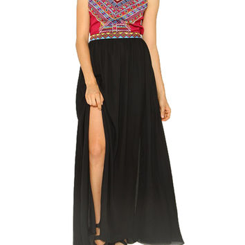 Embroidered Aztec Print Maxi Dress