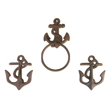3pc Nautical Anchor Towel Ring and Hook Set Cast Iron