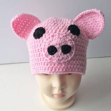 Crochet Pig Beanie - Pig hat - Pig Crochet hat - Baby outfit for pictures - Babies first birthday - Newborn photo prop hat - halloween - hat