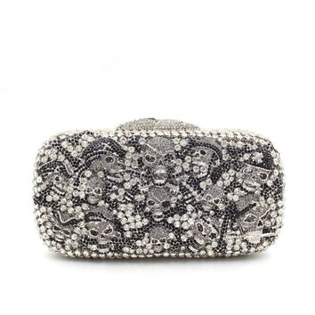 Silver Black Skull Box Rhienstone Clutch