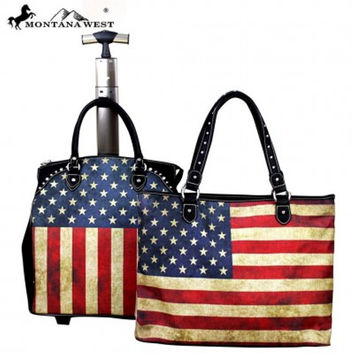 Two Piece American Flag Luggage Set by Montana West US01-l4/6