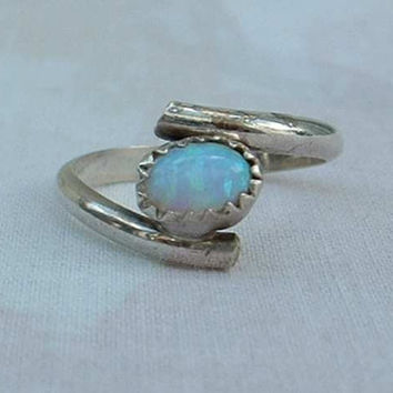 Gibson Opal Ring Created White Fire Size 6 Sterling Silver Jewelry