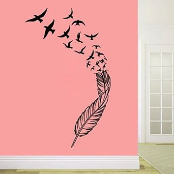 Wall Decals Birds Feather Decal Vinyl Sticker Family Bedroom Home Decor Art Mural Ms387