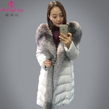 2017 quilted and jackets for women,hooded down jacket  Large raccoon fur Girls long thick jackets for women natural fur