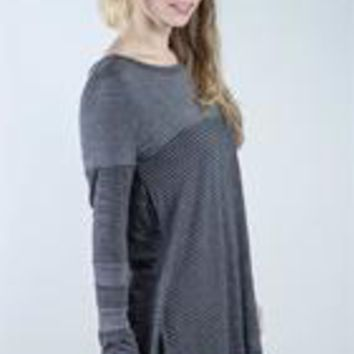 Striped Block Tunic - Grey - S