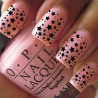 Nail Wrap Art Decals For Acrylic False Black Stars