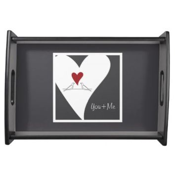 Cute White Doves in Love Personalized Serving Trays: Gift Idea for Couples: Red Heart: Wedding Gift