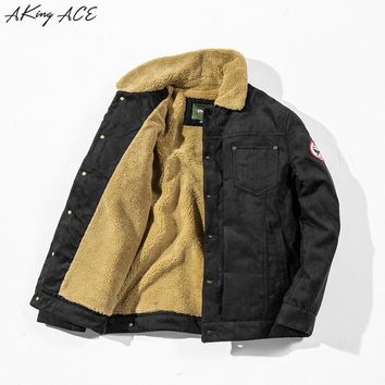 2017 AKing ACE Winter Military Pilot Jacket Coat Vintage Motorcycle Thermal Fleece Jacket Retro Clothing Tactical Parka ZA313