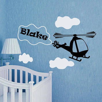 Nursery Wall Decals Personalized Name Decal  Baby Boy Bedroom Room Plane Airplane Clouds  Vinyl Sticker Custom Home Decor Murals MA283