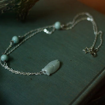 celadon summer // pale jade cicada necklace