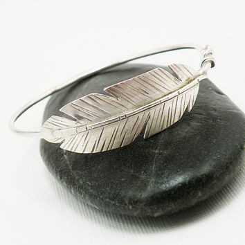 "Sterling Silver Bangle Bracelet  ""Take Flight"" -  Feather Bangle Made to Order"