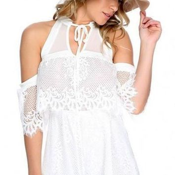 Miami Cold Shoulder White Lace Romper FINAL SALE!