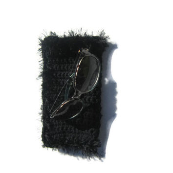 Black Sunglass Case or Glasses Case Crocheted, Black with Fur