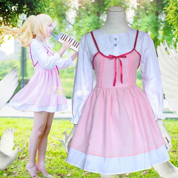 Your Lie in April Miyazono Kaori Pink women girl Dress White Shirt Anime Cosplay Costume