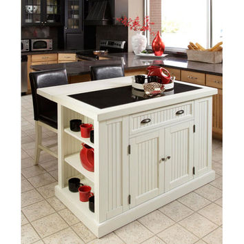 Home Styles Furniture 5022-949 Nantucket Distressed White Island w/ Two Stools