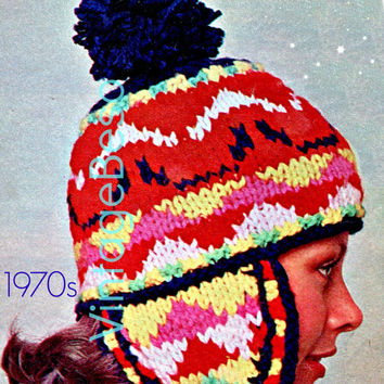 Peruvian Hat Knitting Pattern - Vintage 1970s Ladies Cap Fair Isle KNITTING Pattern free gift 1953 Tea Cosy- Pdf Pattern - INSTANT Download