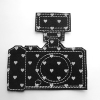 Iron On Patch Camera Applique with Flash in Black and White