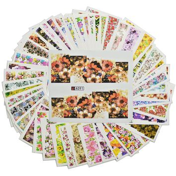 48 Sheets/set  Nail Full Cover Water Decals Transfer Nail Sticker Wraps Colorful Flowers Design Temporary Tattoos A049-096
