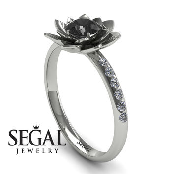Unique Engagement Ring 14K White Gold Flower Black Diamond With White diamond - Lotus