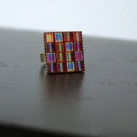 Transparent Berry Colored Adjustable Tile Mosaic Square Statement Ring