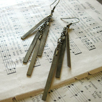 Chimes Earrings - Aged Antique Brass Bar Dangle Cascade on Brass Chain and Earwires - Metal Industrial Modern Rustic Gift