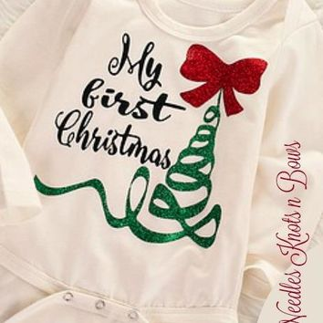 Baby's First Christmas Onesuit, My First Christmas Onesuit / Bodysuit, Baby Girls First Christmas Top