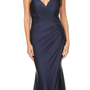 Navy Blue Fit and Flare Evening Gown with Slit